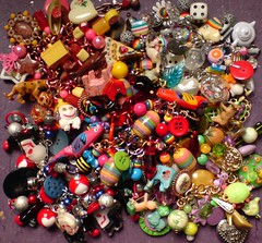 Big Fat Pile of New Bracelets (Rainbow Mermaid) Tags: color colour fun happy rainbow colorful bright handmade ooak kitsch funky charm jewellery novelty harajuku bracelet colourful decora chunky loaded rainbowmermaid