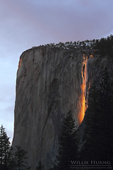 Horsetail Falls on Fire (Willie Huang Photo) Tags: nationalpark yosemite elcapitan horsetailfalls firefalls