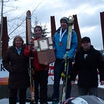 Seger Nelson, of the Big White Racers, placed first in the Super G race at Whistler on Sunday.