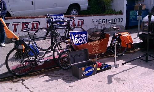 Free bike repair by Flying Pigeon LA on behalf of Stephen Box