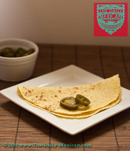 Plain Cheese Quesadilla and Jalapeños