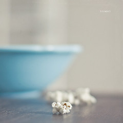 popcorn and a movie ({cindy}) Tags: blue white square dof bokeh turquoise cream bowl explore textures popcorn frontpage flypaper