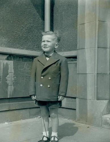 Glenn McCreath outside Cranhill Church 1961