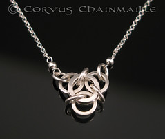 Not Tao 3 necklace in sterling (Redcrow at Corvus Chainmaille) Tags: 3 silver square necklace mail handmade jewelry jewellery chain handcrafted sterling tao chainmail maille chainmaille not