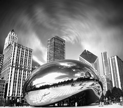"Cloud Gate, ""The Bean"", Millennium Park, The Loop, Chicago, Illinois, USA. (Tomasito.!) Tags: park new old trees light sky people blackandwhite sculptu"