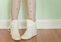 spring booties (Shandi-lee) Tags: wood pink flowers red brown white cute green feet fashion canon spring aqua soft pretty boots girly pastel peach naturallight pale bow accessories tied aldo booties laces lightgreen hardwoodfloor seafoam crotchet floraltights springbooties