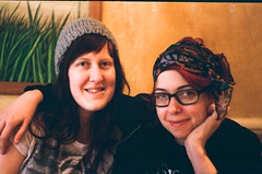 Lunch, in the Brick Lane restaurant (dgrendon) Tags: girls people laura film portraits 35mm happy restaurant pretty smiles bricklane beccy zorki4