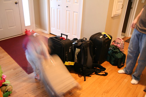 7 bags and a stroller