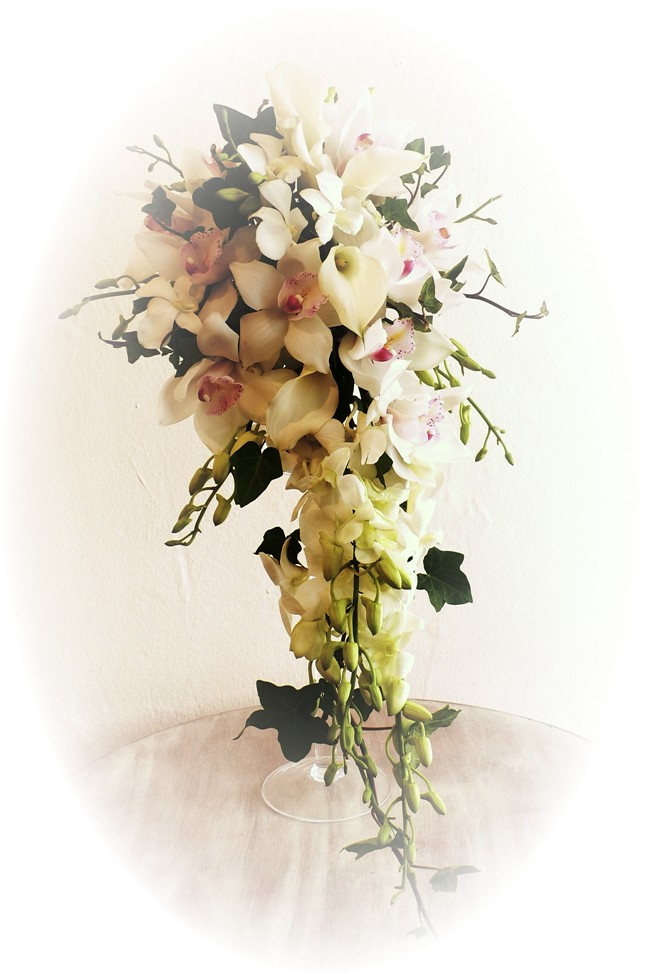"Wedding Brides Bouquet The ""Mallyan"" traditional Singapore orchid & calla lily"