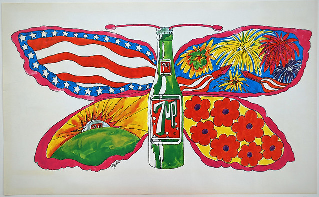 7Up_Butterfly & Bottle_vintage UnCola poster signed by Pat Dypold