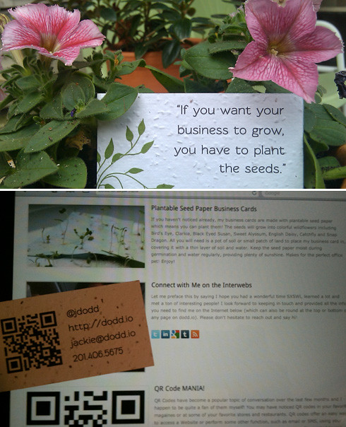 plantable seed paper business card design