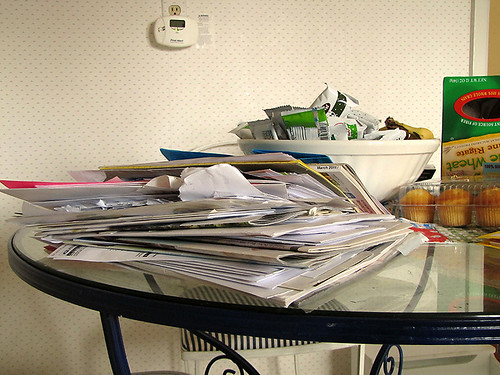 Project Simplify week 2 - Paper cluttered table before