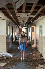 (yyellowbird) Tags: school abandoned girl hallway missouri cari farmington busiekschool