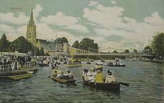 Boating Scene Marlow (Thorskegga) Tags: old uk bridge england english church thames vintage river boat britain postcard buckinghamshire steam boating british edwardian marlow