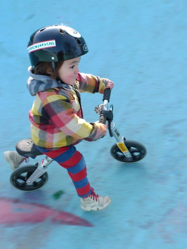32 months: Riding a real bike without pedals (without training wheels)