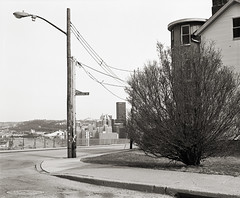 Corner of Grandview and Republic (michaelgoodin) Tags: bridge building 120 mamiya film mediumformat march bush pittsburgh cityscape kodak pennsylvania trix utility hc110 pole 400 pros 6x7 usx 163 1400 rb67 2011 upmc newtopographics