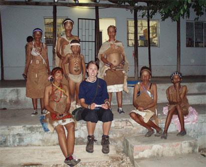Naro dance group and Margrethe at D'Kar Kuru Trust's Museum in D'Kar