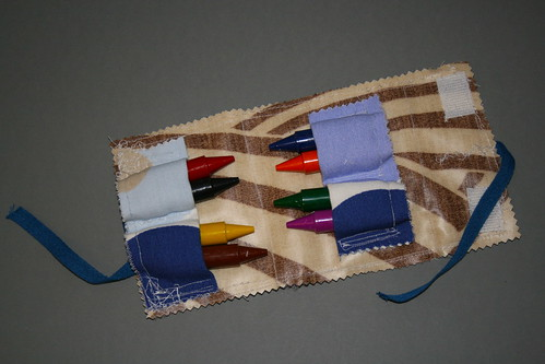 Oil Cloth Lined Crayon Case with Four Pockets