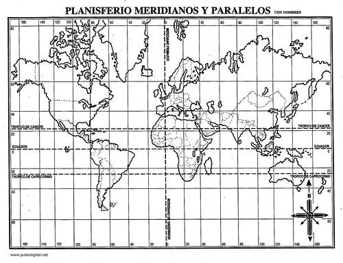 Planisferio meridianos y paralelos con nombres | Pulso Digital