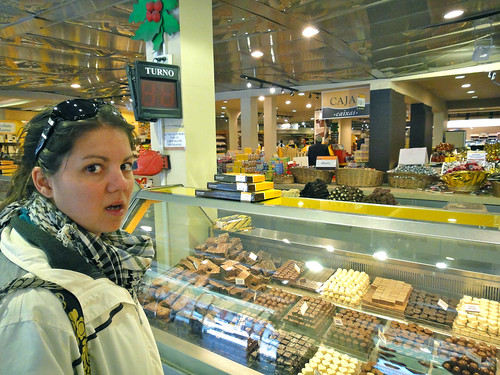 Wendy can't believe how much choclate there is at del Turista