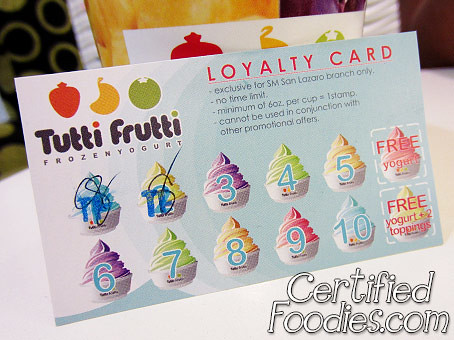 Tutti Frutti Frozen Yogurt Loyalty Card - CertifiedFoodies.com
