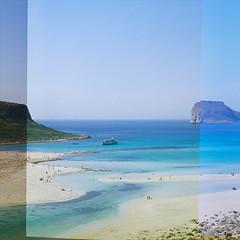 Blue Lagoon (harrastaja) Tags: 6x6 analog square landscape fuji greece crete 100 expired reala pentaconsixtl harrastaja