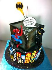 Comics Superhero Cake (Cakes by Gaby!) Tags: cakes cake buildings comics florida miami bat spiderman superhero batman signal cakesbygaby