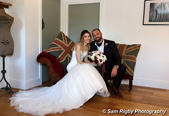 Just Married - Paul & Lindsay at West Mill, 25th Sept 2016 (Sam Rigby Photo) Tags: married wedding love just west mill darley abbey mills day photography photographer north sam rigby female bride dress bouquet hand tied carnations groom button hole black white kiss heart union jack canon