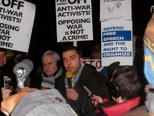 Basil Ali of American Muslims for Palestine joined with anti-war and solidarity organizers to oppose the new round of government repression. Targeted activists refused to testify before a grand jury on Jan. 25, 2011 in Chicago. (Photo: Abayomi Azikiwe) by Pan-African News Wire File Photos