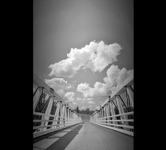 Turon River Crossing B&W (rhyspope) Tags: road street old bridge sky blackandwhite bw cloud white tree lines architecture rural photoshop canon landscape countryside wooden country hill perspective rusty australia nsw newsouthwales aussie hdr highdynamicrange 500d leadinglines rhyspope