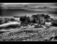 Pienza (Sante sea) Tags: bw italy landscape italia e tuscany pienza toscana valdorcia bianco nero paesaggio gennaio2012challengewinnercontest