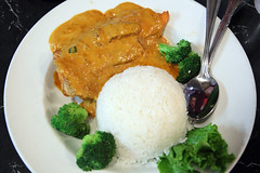 Red curry fried salmon with rice
