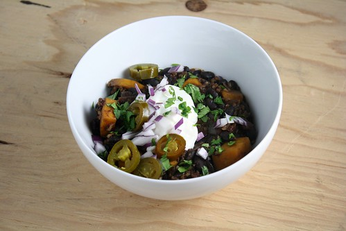 Black Bean Chili with Butternut Squash and Bulgur