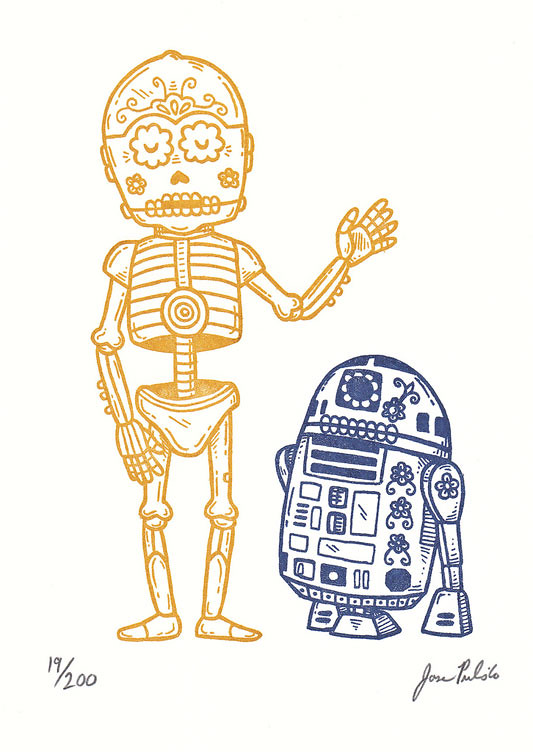 Star Wars Mexican Traditional Art - c3po y r2d2