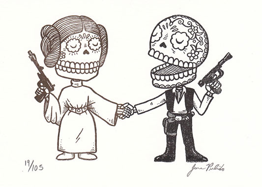 Star Wars Mexican Traditional Art - Luke y Leila