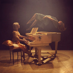 the harmony of lost things (brookeshaden) Tags: playing abandoned spider stage piano floating melody workshop harmony instrument brookeshaden texturebylesbrumes imighthavebeenhappywithjustthepianoplayinggirlbutiliketouseworkshopstoteachtrickimageryandthisonewasquitefun
