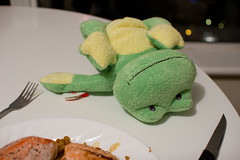 Just playin' (Geoff Peters 604) Tags: food canada cute green kids vancouver toy japanese stuffed downtown bc puppet market salmon frog delicious kale daiso lentil froggie marinated pilaf nesters tonyfrog realmeneatgreen