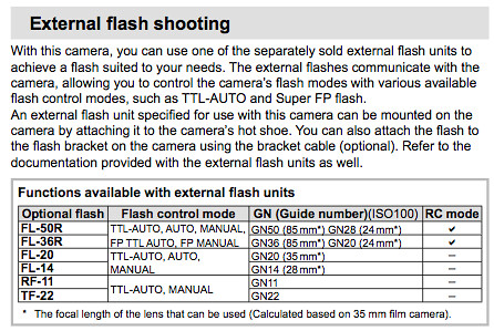 External flash shooting functions, on Page 105 of the Olympus E-PL2 Manual