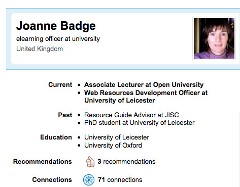 Jo Badge's LinkedIn public profile