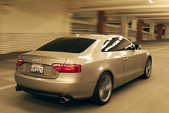 The a5 (Trevor Thompson (old flickr)) Tags: auto car wheel mobile mall driving shot garage parking tire rim audi panning 2008 a5 rolling 2011