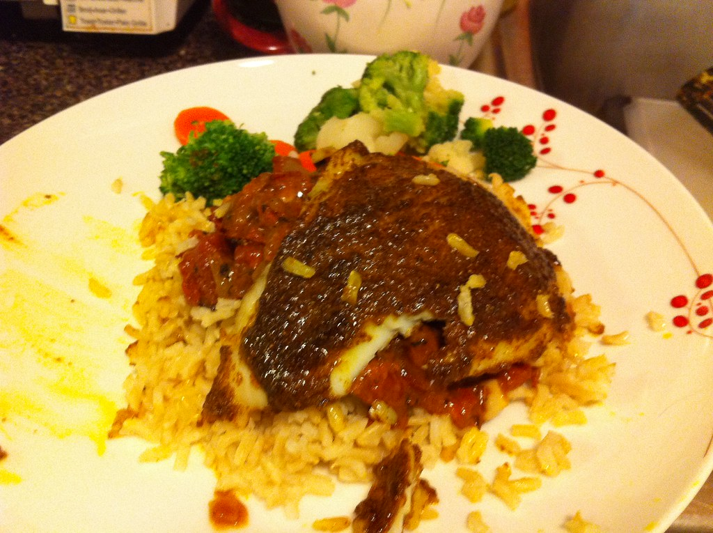 Garam Masala Roasted Flounder in a Tomato Curry Sauce (with Rice Pilaf + Steamed Veggies)