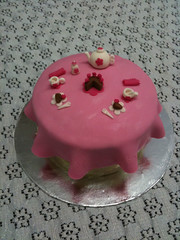 Tea for two! (Xquisite cakes) Tags: pink flowers roses brown white flower cake southafrica yummy pretty tea chocolate ganache fork spoon delicious cups icing teapot vanilla saucer frosting teaset sugarbowl fondant milkjug freshcream whitecake minicake sugarpaste flowerpaste shimmerdust