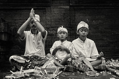 Together we pray (anjur) Tags: bw bali indonesia pray ritual tirta empul tampaksiring
