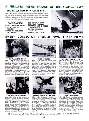 Castle Films catalog from 1952