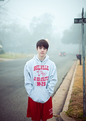 morning (laurenmarek) Tags: morning boy portrait color fog athletics nikon focus texas dof sigma teen teenager jrhigh sweats bellville 30mm d300s laurenmarek johnthomasmarek