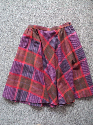 High Waisted Plaid Wool Vintage Skirt