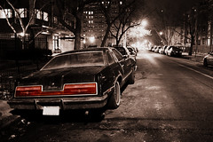 Taking Flight (Flint Foto Factory) Tags: auto street city winter red urban bw chicago color classic ford car night dark outside lights evening automobile nocturnal granville parking rear north dream chrome american 70s parked 1978 february 1970s 1977 thunderbird kerb curb kenmore coupe edgewater taillights tbird selective 2door glenlake 2011 threequarter taillamps slowride worldcars townlandau personalluxury
