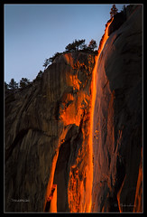 Firefall - Horsetail Waterfall in Yosemite NP - CA - February 2011 (Dominique Palombieri) Tags: california sunset usa rock landscape nationalpark yosemite dominique np firefall 400mm 100iso watterfall 2011 fav10 canoneos7d lens120400mm 120secatf80 palombieri