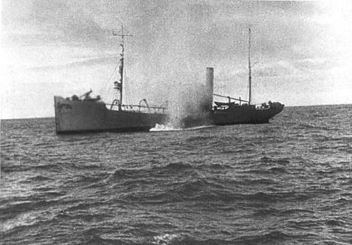 Augosto de Castilho, foto tirada do U-139, afundamento do navio