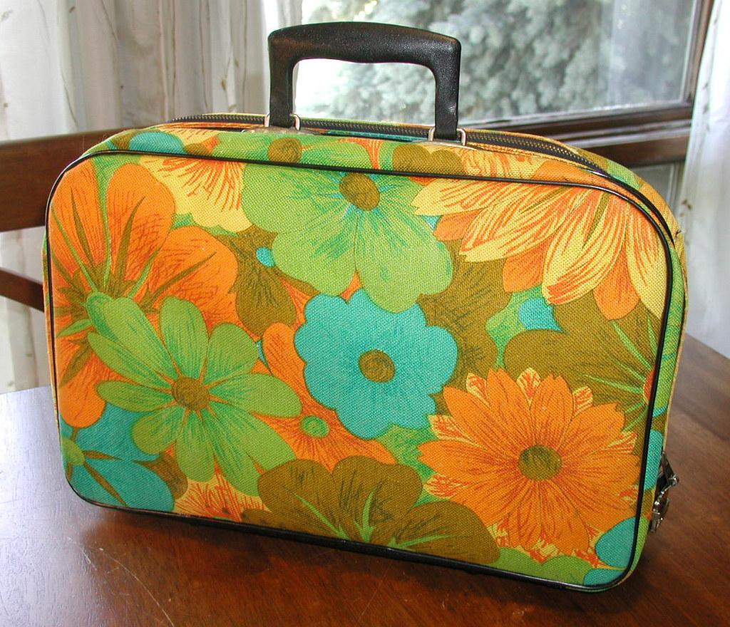 Big Tropical Orange Floral Small Vintage Suitcase